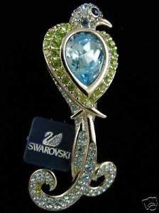 Retired Signed Swarovski Bird Rhodium Pin Brooch Pave Crystal Aqua Has Swan Logo/Peridot Size 2 1/2 Inch