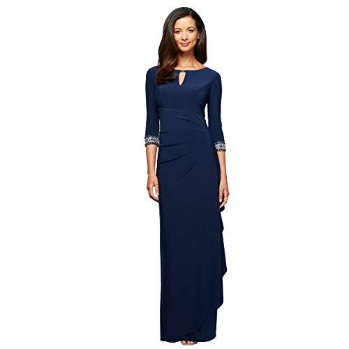 876d5c17b0cf01 Alex Evenings Women's Dress with Keyhole Cutout (Petite and Regular),  Cobalt, 12P
