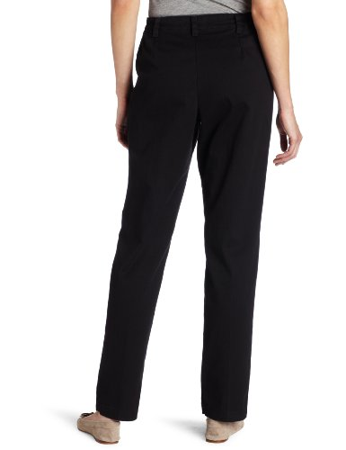 Lee Women's Relaxed Fit Side Elastic Pleated Pant, Black, 16 Medium