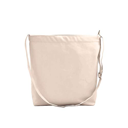 Champagne Tote Ladies Japanese colorTote Waroomss Gym Solid Shoppers Closure Girls Bags Features for Beach Style Cotton Canvas Zip Shopping Nordic Summer Natural Bag Tote Simple Womens Pwqwg4