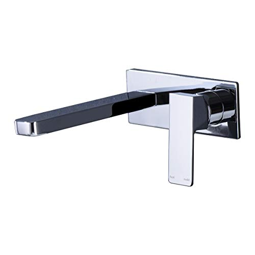 - ZUKKI Full Copper Lead Free Bathroom Sink Faucet, Single Hole Wall Mounted Solid Brass Basin Mixer Taps, Basin Sink Mixer Tap Faucet Hot and Cold Spout Washroom faucet 3015-07A (CHROME)