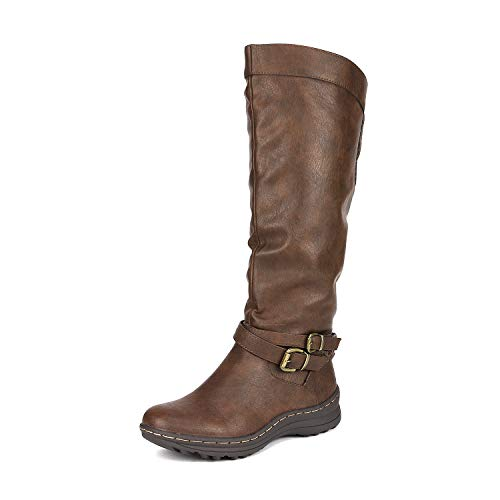 DREAM PAIRS Women's TORKA Brown Faux Fur Knee High Snow Boots Size 9.5 B(M) US