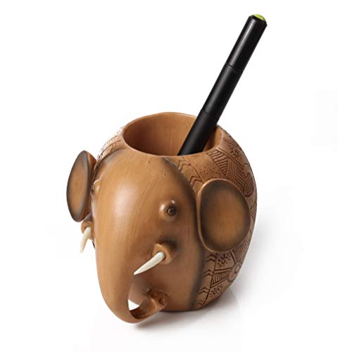 ZIANG Wood Carving Elephant Shape Pen Holders Desk Accessories for Office and School