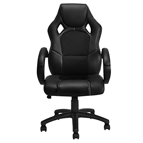 Giantex Gaming Chair Racing Style High Back Executive Office Chair Height Adjustable Ergonomice Desk Chair w/Padded Armrests, Mesh Bucket Seat and Lumbar Support (Black) (Chairs Sale For Odd)