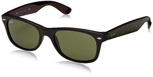 Ray-Ban RB2132 New Wayfarer Polarized Sunglasses, Black On Transparent/Polarized Green, 52 mm (Mirrored Wayfarers Ray Ban)