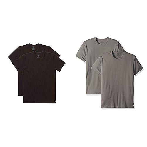 ndershirts Cotton Stretch 4 Pack Crew Neck Tshirts, Black, X-Large and  Grey Sky, XL ()