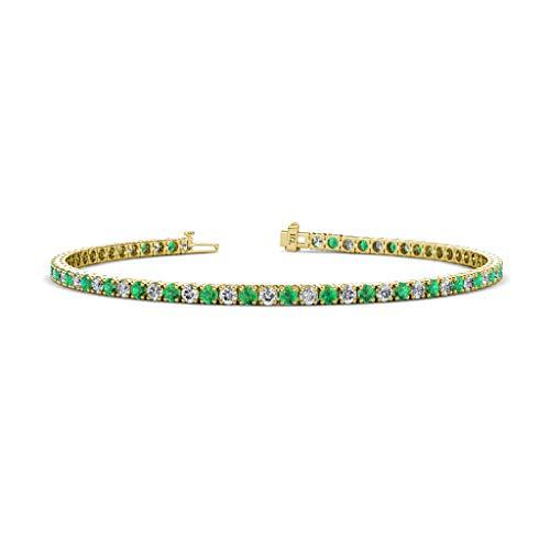 TriJewels Round Emerald and Lab Grown Diamond Womens Eternity Tennis Bracelet 2.72 ctw 14K Yellow Gold