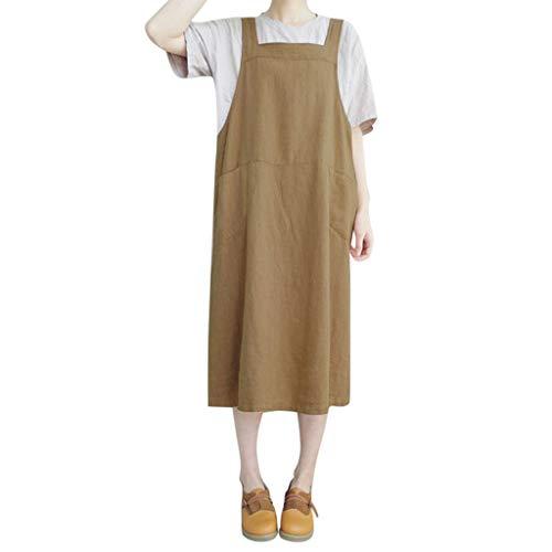 (TIFENNY Women Solid Color Sleeveless Straps Pinafore Dresses Ladies Loose Long Shirt Dress New Khaki)