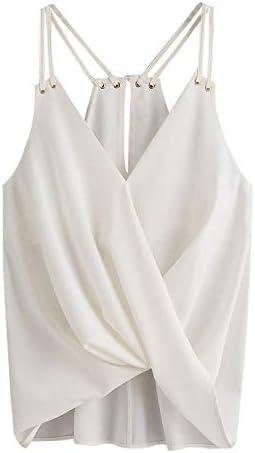 Proumy Camisola Moda Camiseta de Tirantes Mujer Chaleco Sólida Blusa Blanca de Tirantes Camisa Suelta sin Mangas Vestido Plisado Tops de Tiras Finas Cómodo de Talla Grande Traje Cómodo Nuevo 2019: Amazon.es: