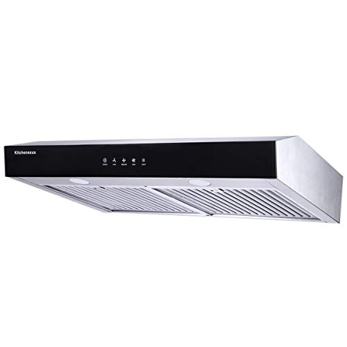 Range Hood 30 inch,Kitchenexus Stainless Steel Touch Screen Display Ducted/ductless Under Cabinet Black Kitchen Vent Hood with LED Lighting and Hybrid Stainless Steel Filters 300CFM T-16JA