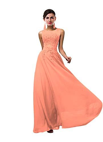ThaliaDress Women Long Sheer Neck Evening Bridesmaid Dresses Prom Gowns T004LF Peach - Peach Bridesmaids Gown Formal