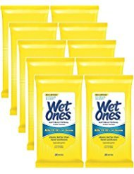 (Wet Ones Antibacterial Hands & Face Wipes, Citrus Scent, 20 Count Travel Pack (Pack of 10))