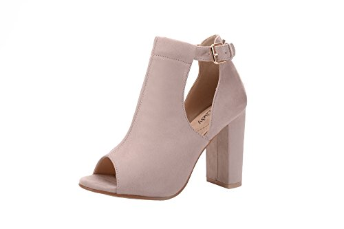 Mila Lady Crystal Women's Stacked Chunky Heel Platform Cutout Side Straps Ankle Bootie, Nude 8