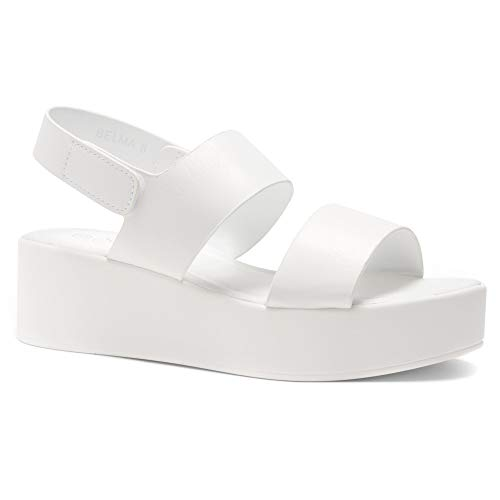 Herstyle Belma Women's Open Toe Ankle Strap Platform Wedge Sandals White 8.0 ()