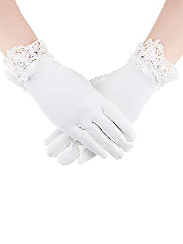 Sumind Short Satin Gloves Wrist Length Gloves Women's Gown Gloves Opera Wedding Banquet Dress Glove for Party Dance (Beige,M - Womens Glove Short