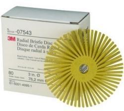 3M 7543 3'' Scotch-Brite Radial Bristle Discs, 80 Grade, Medium, Yellow