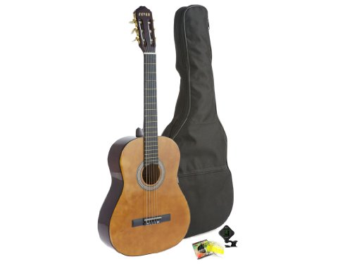 Fever Student Full Size Nylon Classical String Guitar with Bag, Tuner and Strings, C055 by Fever