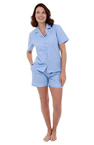 Button Down Woven Shorts - Alexander Del Rossa Womens Cotton Pajamas, Short Button Down Woven Pj Set, Large Light Blue (A0516LBLLG)