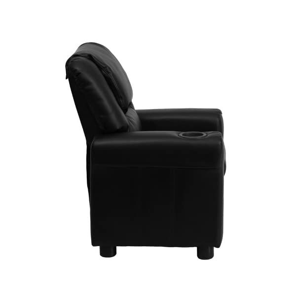 Flash Furniture Contemporary Black Leather Kids Recliner with Cup Holder and Headrest