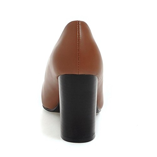 COOLCEPT Mujer Moda sin Cordones Puntiagudo Tacon Ancho Alto Bombas Zapatos Boca Baja Zapatos SM Marron