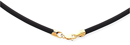 14k Yellow Gold Rubber Necklace (ICE CARATS 14k Yellow Gold 2mm 18 Inch Clasp Black Rubber Link Cord Chain Necklace Leather Fine Jewelry Gift Set For Women Heart)