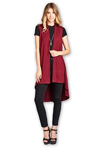 Sleeveless Natural - ReneeC. Women's Extra Soft Natural Bamboo Sleeveless Long Cardigan - Made in USA (Large, Burgundy)