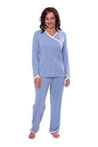 Texere Women's Faux-Wrap Pajama Set (Oasisleep, Heather Ice Blue, X-Large) Great Birthday Gifts for Her TX-WB000-007-21U1-R-XL