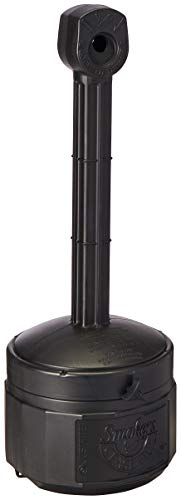 "Justrite 26806D Polyethylene Personal Smokers Cease Fire Cigarette Butt Receptacle, 1 Gallon Capacity, 11"" OD x 30"" Height, Deco Black from Justrite"