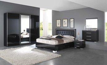 Chambre adulte complète design CLEOPATRE, coloris noir laqué Armoire ...