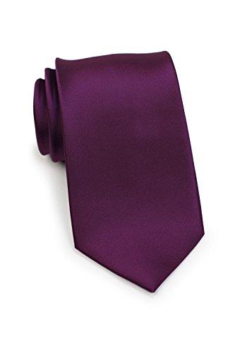 Plum Windsor - Bows-N-Ties Men's Necktie Solid Color Microfiber Satin Tie 3.25 Inches (Plum Purple)