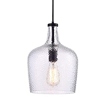 Jojospring Belinda Antique Black Mouth-Blown Clear Glass Pendant Chandelier