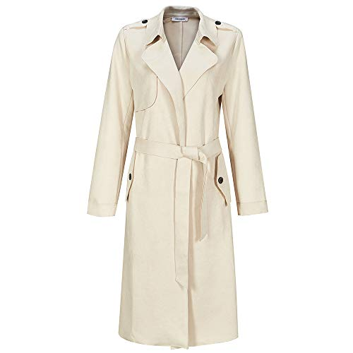 NOBLEMOON Trench Coat Women, Women Casual Coat with Pocket Stlylish Soft Fabric Lab Leather Jacket for Spring White
