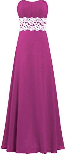 Bridesmaid Chiffon s Homecoming Women Long ANTS Strapless Dresses Lace Maroon tXqUcPw