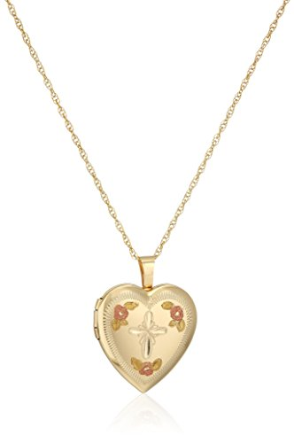 14k Gold-Filled Satin Finished Hand Engraved Heart Shaped Pendant with Tricolor Locket Necklace, 18