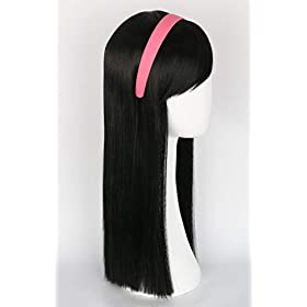 - 31UzkEtUvfL - Topcosplay Kids Child Wigs Black Long Straight Cosplay Halloween Costumes Wig with Mask Headband