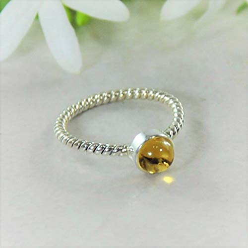 Sivalya NOVA Natural Citrine Gemstone Ring in 925 Sterling Silver - Twisted Rope Pattern Solid Silver Band Ring for Women - Size ()