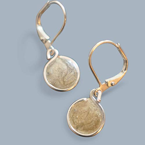 Handmade Lghtweight Womens Silver/Gold Resin Small Drop Earrings on Leverback Beads by Bettina ()