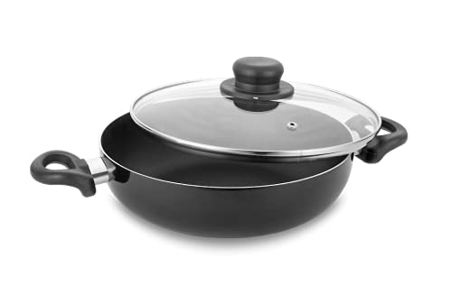 Classic Essentials Non-Stick Cookware Deep Kadhai with Glass Lid 2.6 LTR. 24cm (Induction Friendly),Black