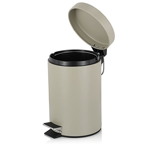 Fortune Candy Step Trash Can, Garbage Can with Lid, Small Trash Can for Bathroom (0.8 Gallon, Light brown)