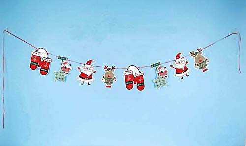 Auch 5 Pack Christmas Hanging Banners Paper Bunting Garlands Festival String Flags Craft Ornaments for Offices Malls Houses and Parties