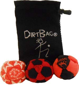Dirtbag Medley Footbag Hacky Sack 3 Pack - Red/Black by Dirtbag