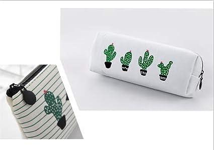 Eudola Trousse Scolaire Sac /à Stylo Crayons en Toile Mignon Cactus Sac de Papeterie Sac de Rangement Cosm/étique pour Enfants Adolescents /Étudiants Blanc
