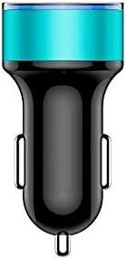 HWEN ケーブル3.1A指導LEDライトを充電金属車の充電アダプタヘイロー表示急速充電電話の充電器 (Color : Blue)