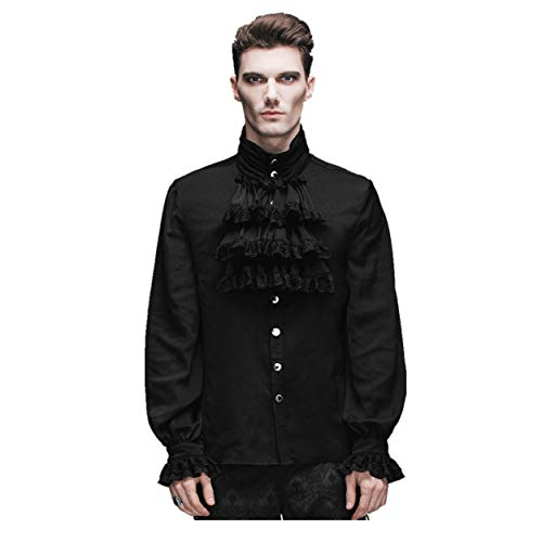 Devil Fashion Men Black Vintage Gothic Victorian Shirt Tops with Flounce Tie(M)