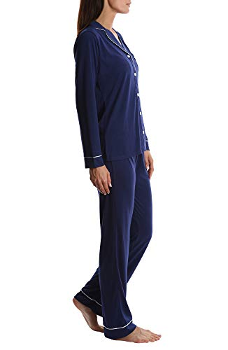 Blis Women s Long Sleeve Buttoned Sleep Shirt   Lounge Pants PJ Set - Ladies  Pajamas   3902901db
