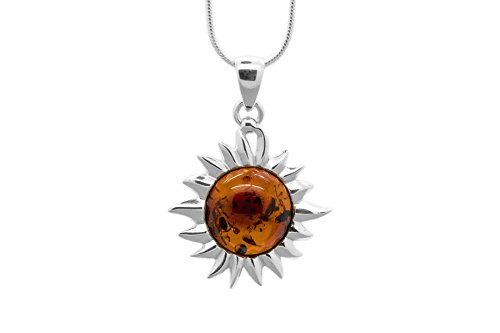 925 Sterling Silver Flaming Sun Pendant Necklace with Genuine Natural Baltic Cognac Amber. Chain (Cognac Baltic Amber Pendant)