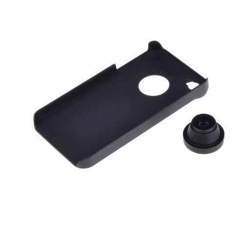 4s Hard Back Case - Neewer Detachable Fish Eye Lens Wide Angle 180 Degree + Back Cover Case for iPhone 4/4S - Black