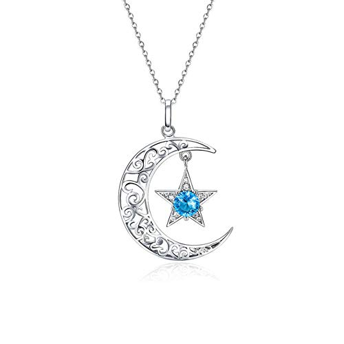 YJIUJIU S925 Sterling Silver Necklace, Ladies Fashion Personality Stars and Moon Inlaid Zircon Pendant Necklace, Valentine's Day