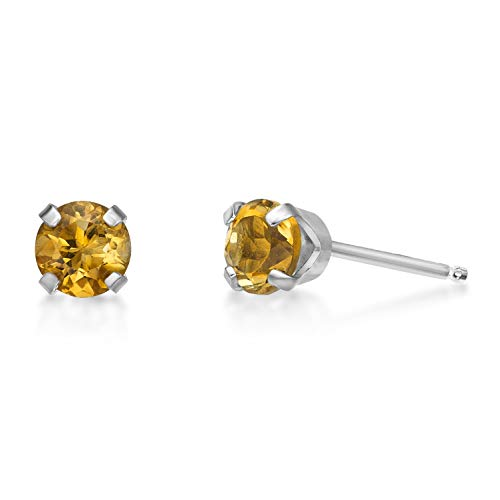 (.40 CT Round 4MM Yellow Citrine 14K White Gold Stud Birthstone Earrings)