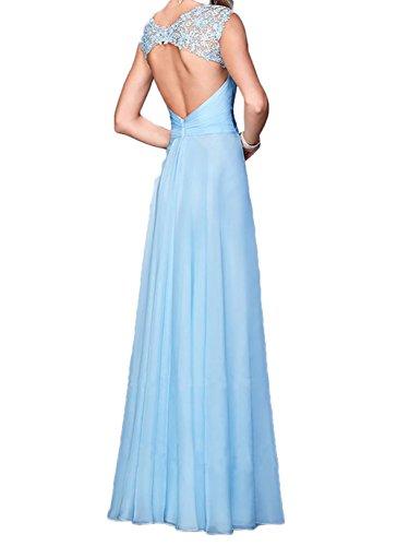 Promkleider Fuchsia Abschlussballkleider Chiffon Charmant A Damen Linie Abendkleider Langes Festlichkleider Blau qwXUC